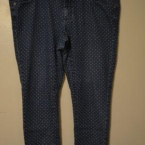 Merona Blue Polk A Dot Jeans Sz 18 Skinny Leg